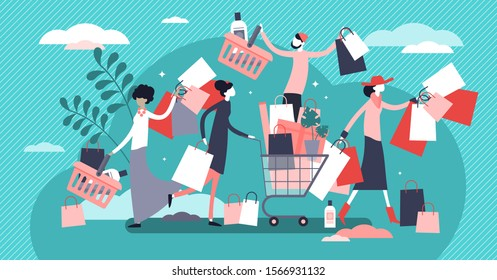 Shopping madness crowd flat tiny persons concept vector illustration. Black Friday or better sale offer increasing sales and business growth. Happy customers with bags, boxes and new products in cart.