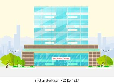 shopping mall building exterior vector illustration