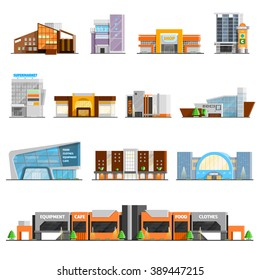 Shopping mall building orthogonal icons set with cafe and clothes symbols flat isolated vector illustration