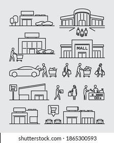 Shopping Mall Buildings Käufer Vektorliniensymbole