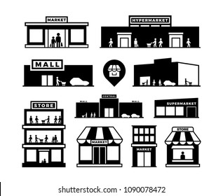Shopping mall buildings icons. Store exteriors with people pictograms. Shop houses with shoppers vector. Monochrome building shop, store and market, supermarket exterior, retail storefronts