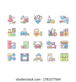 Shopping mall categories RGB color icons set. Online store products. Bookstore, toys shop. Fashion boutique. Drive in cinema. Isolated vector illustrations