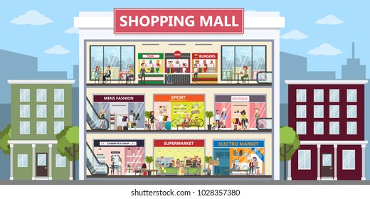 Shopping mall center interior set. Clothing for all.