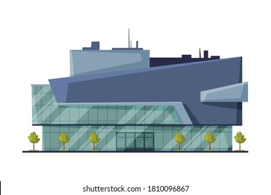 Shopping Mall Commercial Building Made of Glass and Concrete, Modern Retail Store Facade, Urban Architecture Design Element Flat Vector Illustration