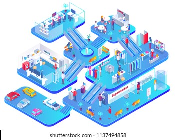 Shopping mall concept isolated on white vector huge supermarket with different shops and cafe, market center mockup 3D style, multi storey building