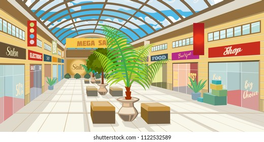 Shopping mall corridor with panoramic roof. Modern boutiques in mall with plants and benches. Shopping center concept. Vector illustration can be used for topics like consumerism, retail, precinct