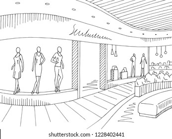 Shopping mall graphic black white interior sketch illustration vector