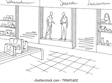 Shopping mall graphic black white interior sketch illustration vector