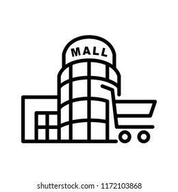 Shopping mall icon line art vector