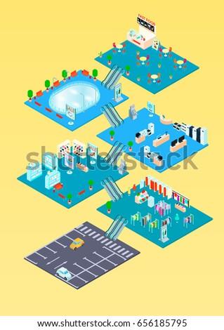 shopping-mall-isometric-infographics-tem