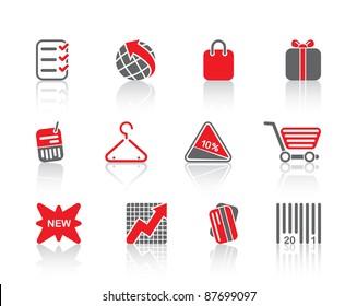 Shopping mall retail sale boutque price sensation logo set icons