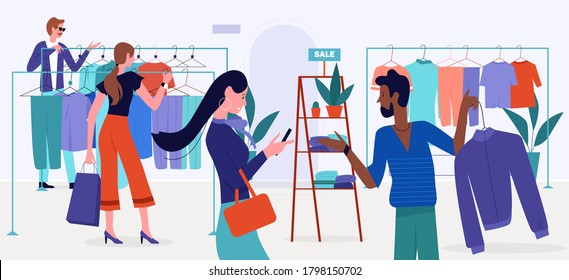 Shopping mall sales vector illustration. Cartoon flat customer buyer people choose clothes hanging on hangers of retail store, shop or boutique modern interior, buy fashion trendy garments background