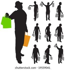 shopping man vector