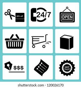 shopping and market icon set