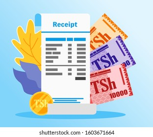 Shopping or Market Receipt Payment with Tanzanian Shilling Money vector illustration flat design. Payment and finance element.  Can be used for web and mobile, infographic and print.