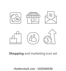 Shopping and marketing, email promotion, sales increase, loyalty program, discount coupon, revenue growth, earn points, vector icons, line design