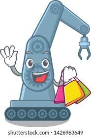Shopping mechatronic robotic arm in mascot shape