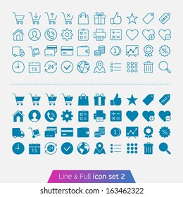 Shopping and money set 2. Trendy thin icons for web and mobile. Line and full versions.