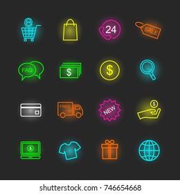 shopping neon icon set, vector design editable stroke