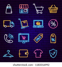 Shopping Neon Icons. Vector Illustration of Sale Symbols.