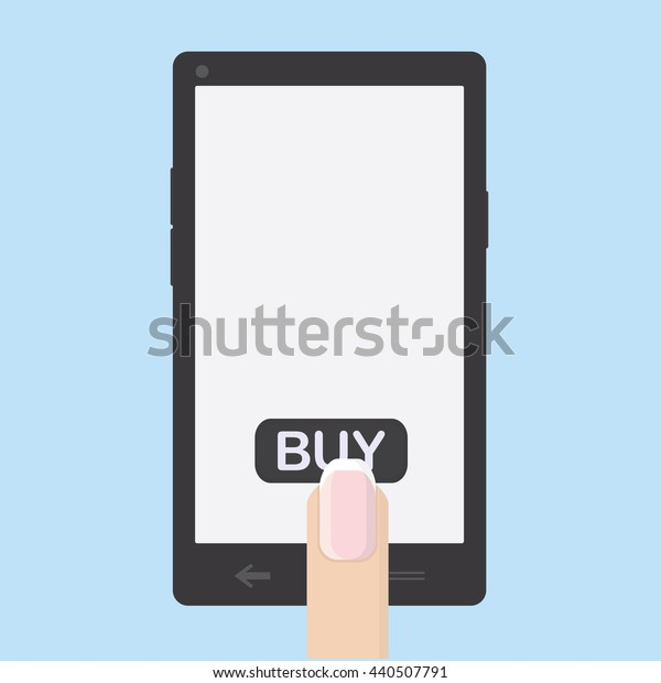 Shopping on the Internet via the phone. Female finger presses the button to buy. Vector illustration.