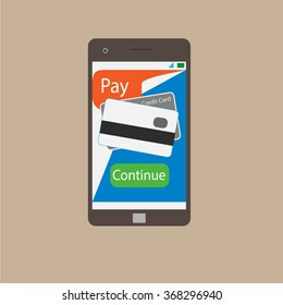 Shopping on the Internet from your phone vector graphics