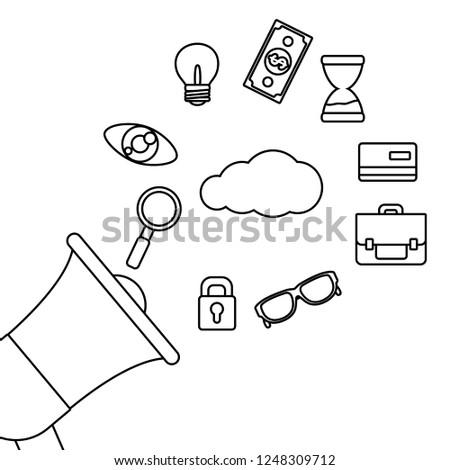 Shopping Online Advertising Black White Stock Vector Royalty Free