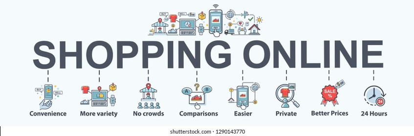 Shopping online banner web icon set, convenience, no crowds, comparison, Best prices, easier payment and open online shop 24 hours. minimal vector infographic concept.
