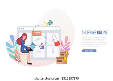 Shopping online banner web landing page. People using laptop to shopping online.