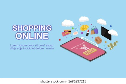 Shopping online concept for flat design, online trading for web page, website, template and background, vector illustration about shopping online