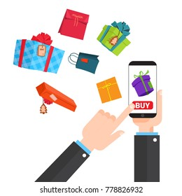 Shopping Online Concept Hand Holding Smart Phone Buying Presents In Internet Space Vector Illustration