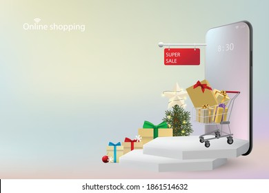 Shopping Online concept on mobile application in digital marketing by Mobile phone with hexagonal podiums and shopping cart and Christmas tree and gift box. Vector 3D rendering.