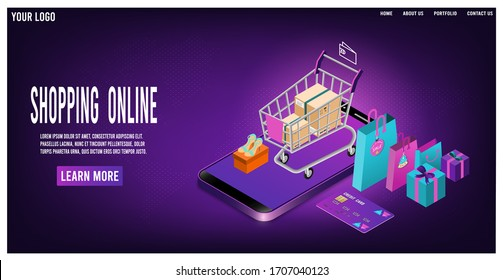 Shopping online concept for website, mobile application, web banner, info graphics or discount coupons. Vector illustration
