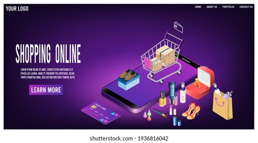 Shopping online concept for website, mobile application, web banner, info graphics or discount coupons. Vector illustration EPS 10
