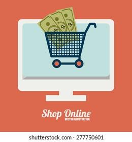 Shopping online design over orange background, vector illustration