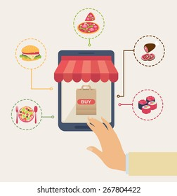 Shopping for online food concept with a man touching a buy button on the computer screen