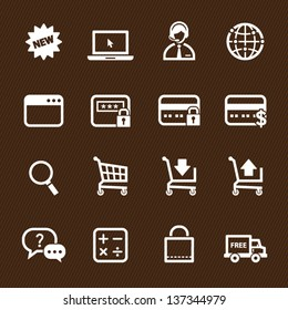 Shopping Online Icons with Brown Background