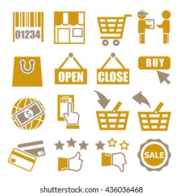 shopping, online market icon set