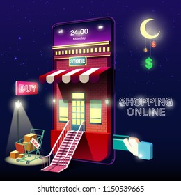 Shopping Online Mobile Phone Night
