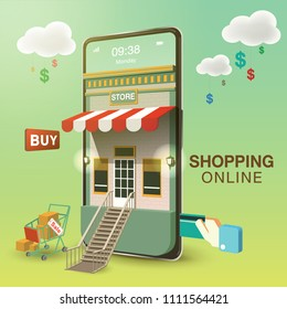 Shopping Online Mobile Phone VECTOR