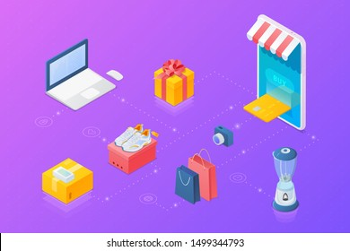 Shopping Online objects collection Isometric vector: Mobile phone as Web store, Laptop notebook, present box, shopping bags, shoes, camera.