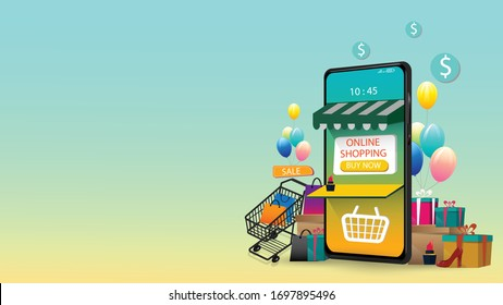 Shopping Online on Mobile Application Concept Marketing and Digital vector.