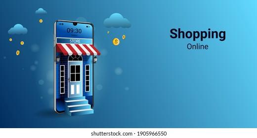 Shopping online on mobile Application. Modern marketing and Digital marketing. online store promotion concept. Use for website, banner and mobile website. 3D vector illustration