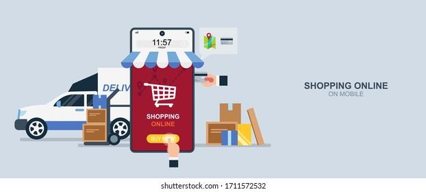 Shopping online on mobile, delivery service, internet payment, product transportation, flat design vector illustration.