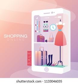 Shopping Online on Mobile Phone Women Vector