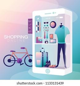 Shopping Online on Mobile Phone Man Vector