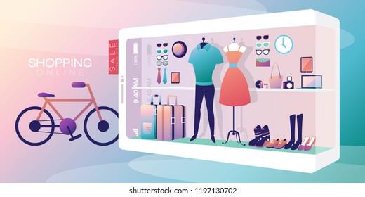 Shopping Online on Mobile Phone Man & Women Vector
