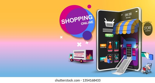 Shopping Online on Mobile Phone VECTOR