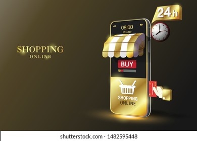 Shopping Online on Website or Gold Mobile Application Vector Concept Marketing and Digital marketing, Black Background