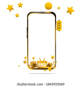 Shopping Online on website or Gold Mobile Vector Concept Digital marketing. have full moon and Stra